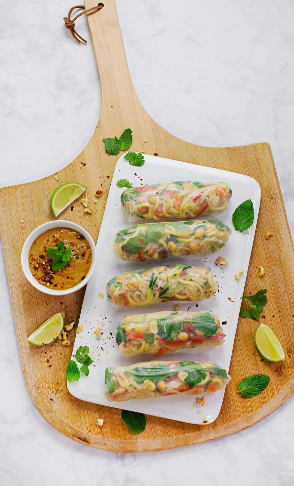 Mostly raw pad thai spring rolls