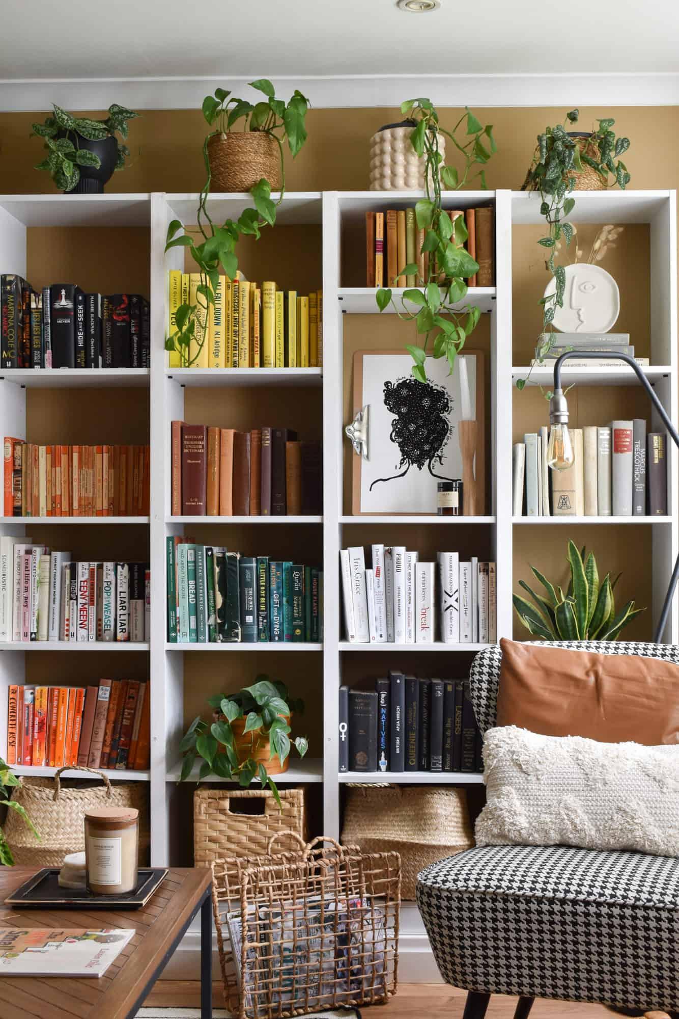 A colorful rainbow book shelf